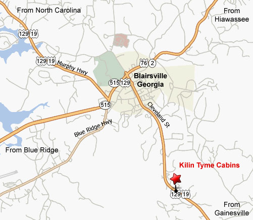 Location Map showing Kilin Tyme Cabins in Blairsville, Georgia